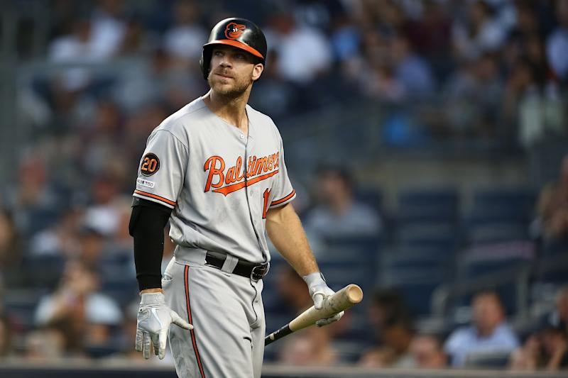 NEW YORK, NEW YORK - AUGUST 12: Chris Davis #19 of the Baltimore Orioles reacts after striking out in third inning against the New York Yankees at Yankee Stadium on August 12, 2019 in New York City. (Photo by Mike Stobe/Getty Images)