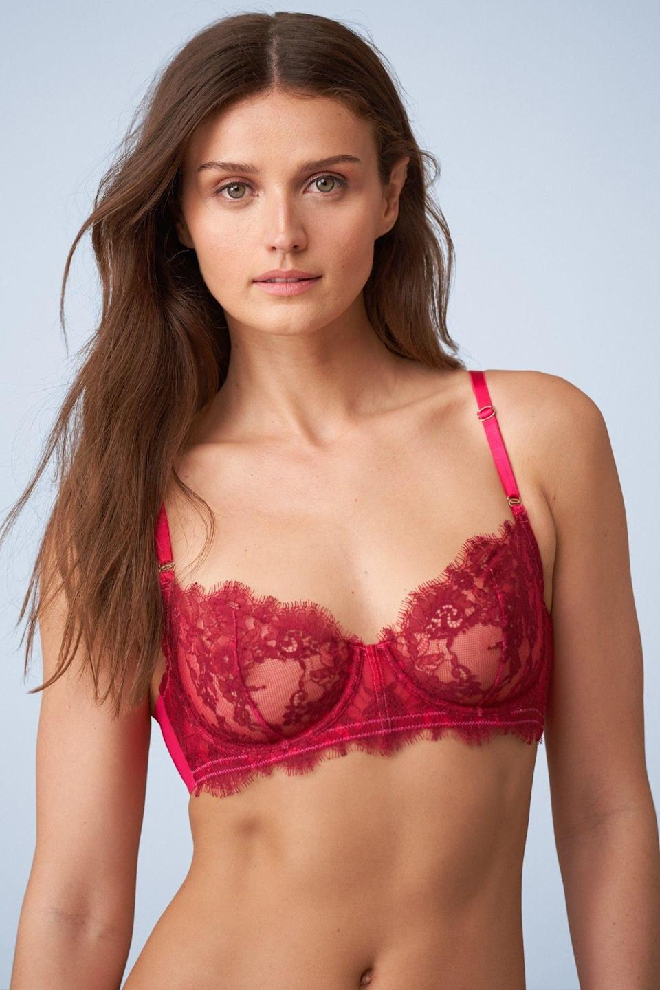 """<p><strong>Skarlett Blue</strong></p><p>skarlettblue.com</p><p><strong>$64.00</strong></p><p><a href=""""https://www.skarlettblue.com/entice-balconette-bra-324143?gclid=CjwKCAiA8K7uBRBBEiwACOm4dzEzSmtRo5pX-Bx4b1m95GO91zkmTMPCIgZqzq4aZ8zjF30lRm-rNBoCOT8QAvD_BwE#92=248&155=118&156=111"""" rel=""""nofollow noopener"""" target=""""_blank"""" data-ylk=""""slk:Shop Now"""" class=""""link rapid-noclick-resp"""">Shop Now</a></p><p>I own this bra and trust me, it's super delicate and soft. Skarlett Blue has everything from your daily-use essentials to lacey pieces you buy when you just want to treat yoself. </p>"""