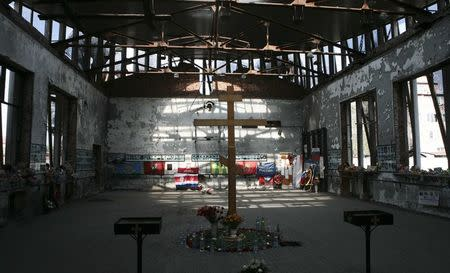 A view shows the building of a school seized by Islamist militants in 2004 in Beslan