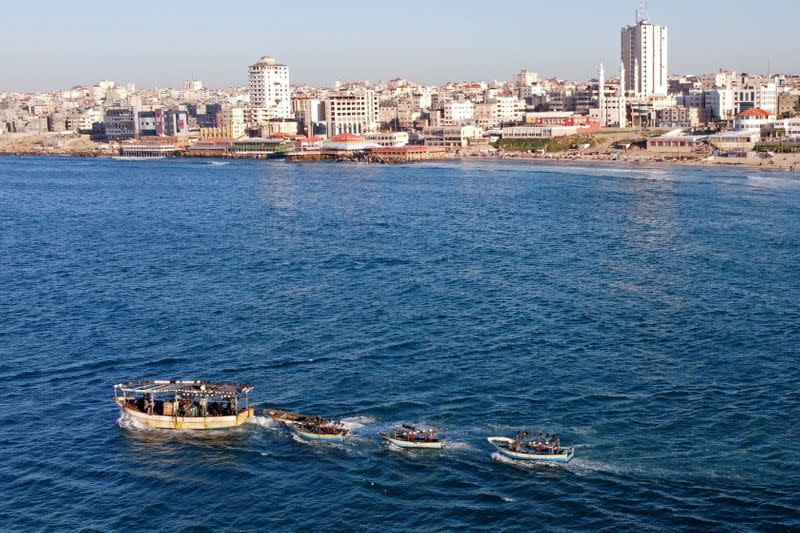 picture taken with a drone shows Palestinian fishing boats near Gaza's seaport in Gaza City