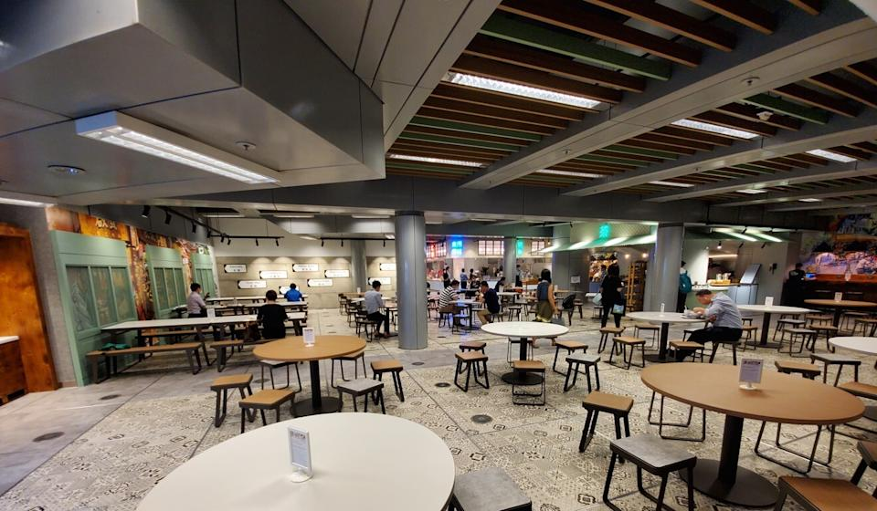 HSBC has reduced seating to encourage social distancing at its staff canteen at its headquarters in Central. Photo: Handout