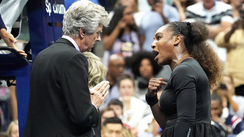 Serena Williams becomes frustrated and argues with referee Brian Earley.