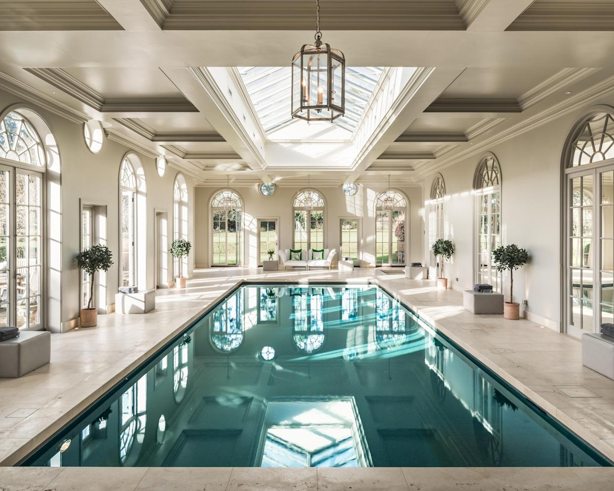 The palatial indoor heated pool at Ariabelle, West Sussex. (Mark Watts photography)