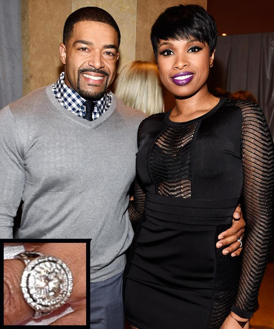 <p>Professional wrestler David Otunga proposed to singer Jennifer Hudson on her birthday in 2008. Otunga proposed with a platinum Neil Lane engagement ring with a stunning five-carat center stone.</p>