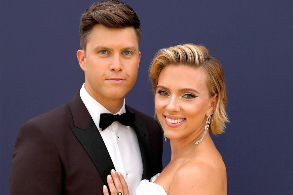 Colin Jost and Scarlett Johansson (Photo: Trae Patton/NBCU Photo Bank/NBCUniversal via Getty Images)