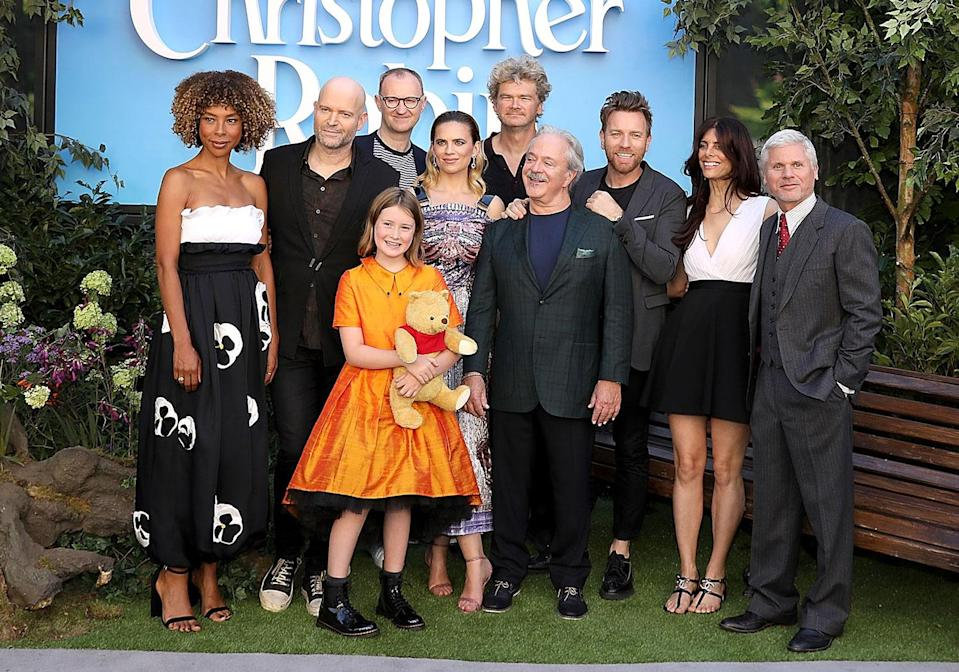 Sophie Okonedo, Marc Foster, Mark Gatiss, Bronte Carmichael, Hayley Atwell, Jim Cummings, Ewan McGregor, Simon Farnaby and Renee Wolf attend the European Premiere of Disney's <i>Christopher Robin</i> at BFI Southbank on August 4, 2018 in London