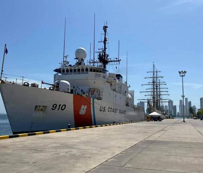 The Coast Guard Cutter Thetis is moored to a pier in Key West on Feb. 19, 2021.