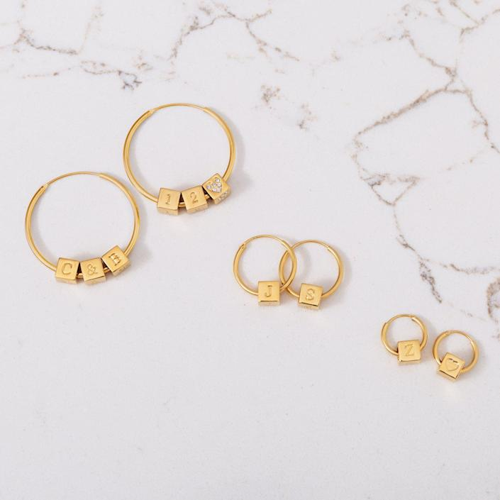 <p>How adorable are these <span>Capsul Custom Block Hoops</span> ($15)?</p>