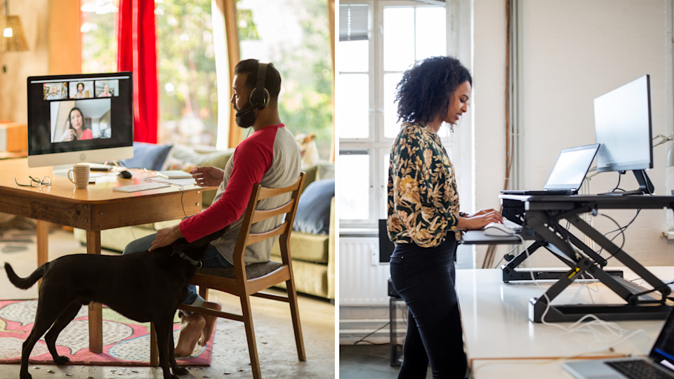 A man sitting and working from desk at home, a woman with a standing desk set up