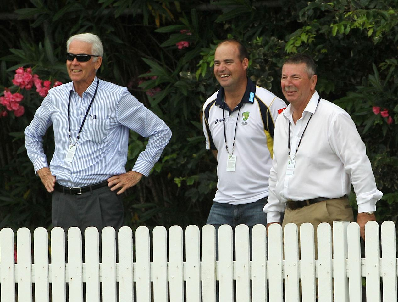 BRISBANE, AUSTRALIA - NOVEMBER 26:  (L - R) Australian Chairman of Selectors John Inverarity, Australian Coach Micky Arthur and Selector Rod Marsh chat on the boundary during day three of the International Tour Match between Australia A and New Zealand at Allan Border Field on November 26, 2011 in Brisbane, Australia.  (Photo by Hamish Blair/Getty Images)