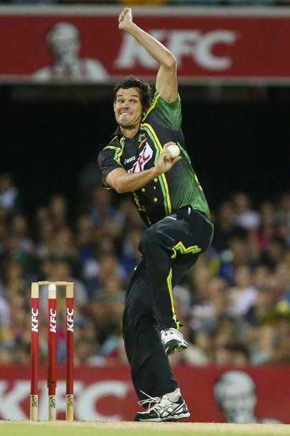 BRISBANE, AUSTRALIA - FEBRUARY 13:  Clint Mckay of Australia bowls during the International Twenty20 match between Australia and the West Indies at The Gabba on February 13, 2013 in Brisbane, Australia.  (Photo by Chris Hyde/Getty Images)