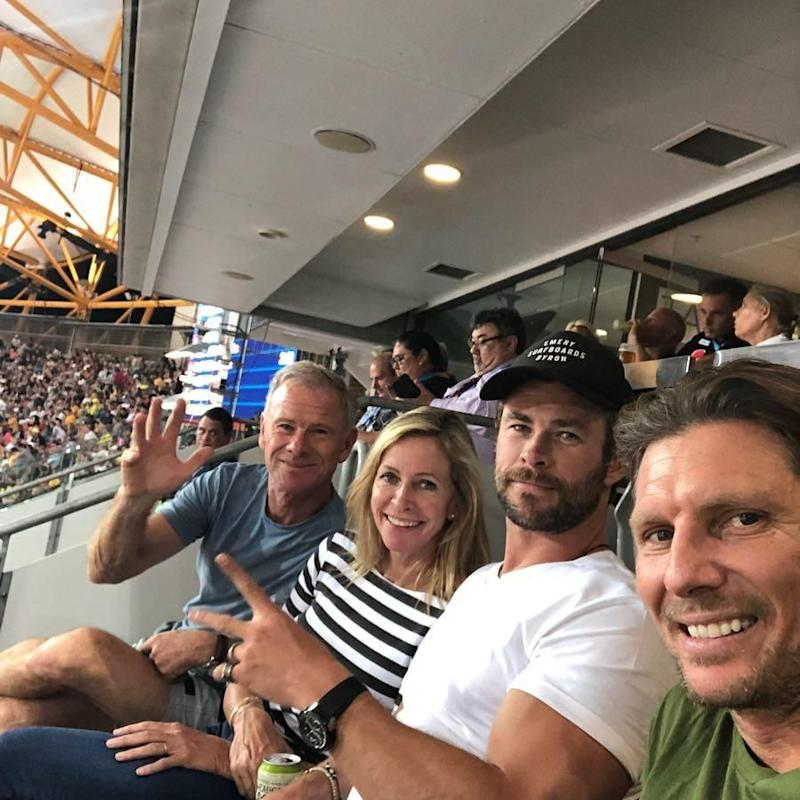 Chris with his parents Leonie and Craig at the Commonwealth Games. Source: Instagram/chrishemsworth