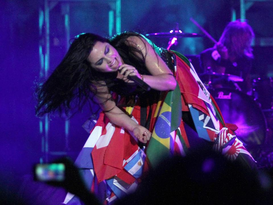 Evanescence's Amy Lee performs during a concert in Asuncion: AFP via Getty Images