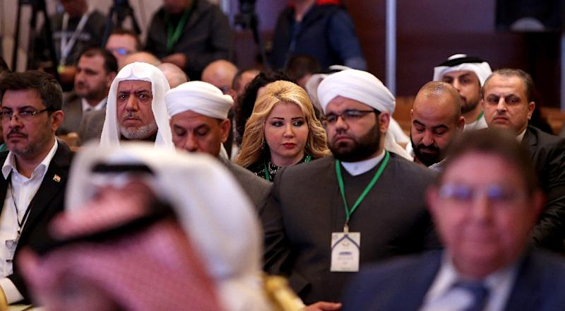 Participants attend a presentation during the Kuwait International Conference for Reconstruction of Iraq on February 12, 2018, in Kuwait City (AFP Photo/YASSER AL-ZAYYAT)