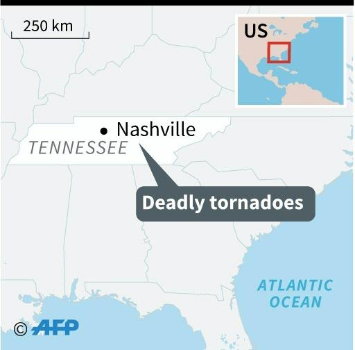Map locating the US state of Tennessee, where deadly tornadoes struck
