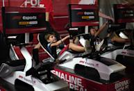 A kid trying out virtual racing at Singapore F1. (PHOTO: Singapore GP)