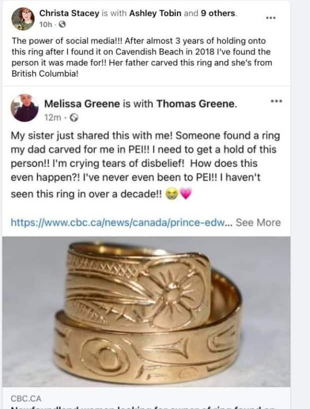 Greene discovered her lost ring had been found thanks to a CBC P.E.I. story about Stacey's search for its owner.