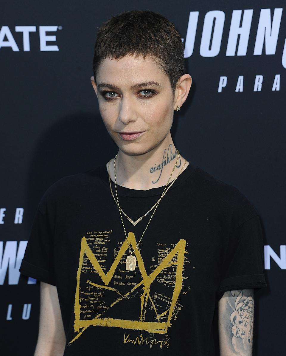 "HOLLYWOOD, CA - MAY 15:  Asia Kate Dillon arrives for the Special Screening Of Lionsgate's ""John Wick: Chapter 3 - Parabellum"" held at TCL Chinese Theatre on May 15, 2019 in Hollywood, California.  (Photo by Albert L. Ortega/Getty Images)"
