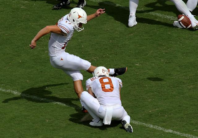 Cameron Dicker hit the game-winning kick for Texas. (Getty Images)