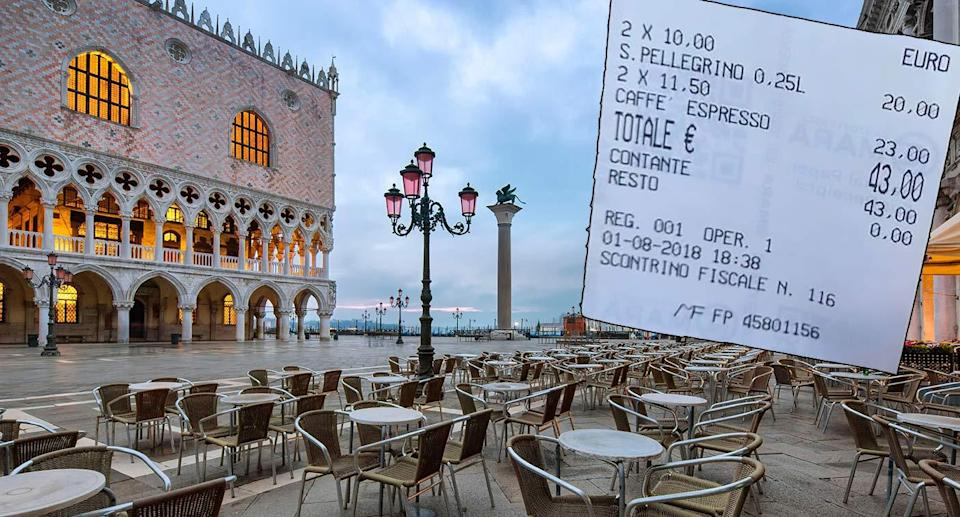 St Mark's Square cafe, and the extortionate coffee bill (inset) (CEN).