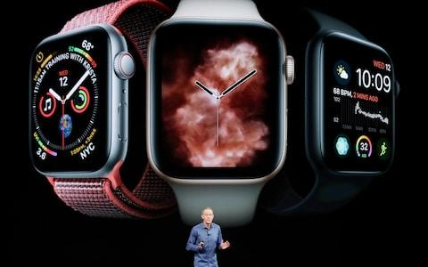 Jeff Williams, Apple's chief operating officer, speaks about the Apple Watch Series 4 at the Steve Jobs Theater during an event to announce new Apple products Wednesday, Sept. 12, 2018, in Cupertino, California - Credit: Marcio Jose Sanchez/AP