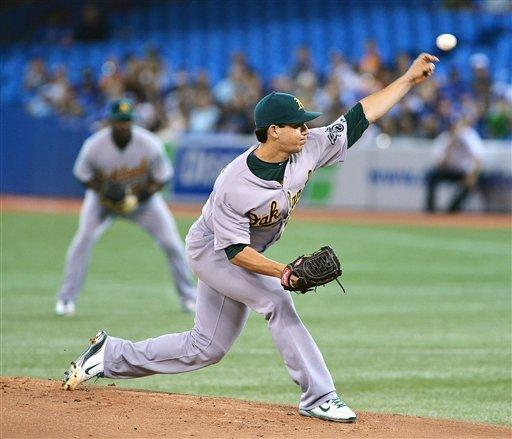 Oakland Athletics pitcher Tommy Milone works against the Toronto Blue Jays during the first inning of a baseball game against the Toronto Blue Jays in Toronto Thursday, July 26, 2012. (AP Photo/The Canadian Press, Aaron Vincent Elkaim)