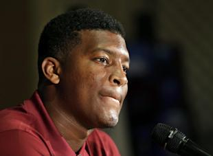 Jameis Winston talks to the media during a press conference. (AP)