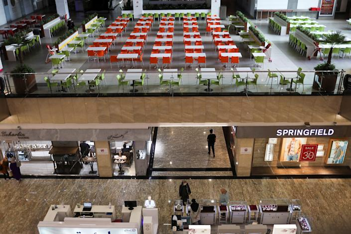 """An empty restaurant is seen at the mall, in Tehran, Iran, on April 20, 2020. <p class=""""copyright"""">WANA (West Asia News Agency)/Ali Khara via REUTERS</p>"""