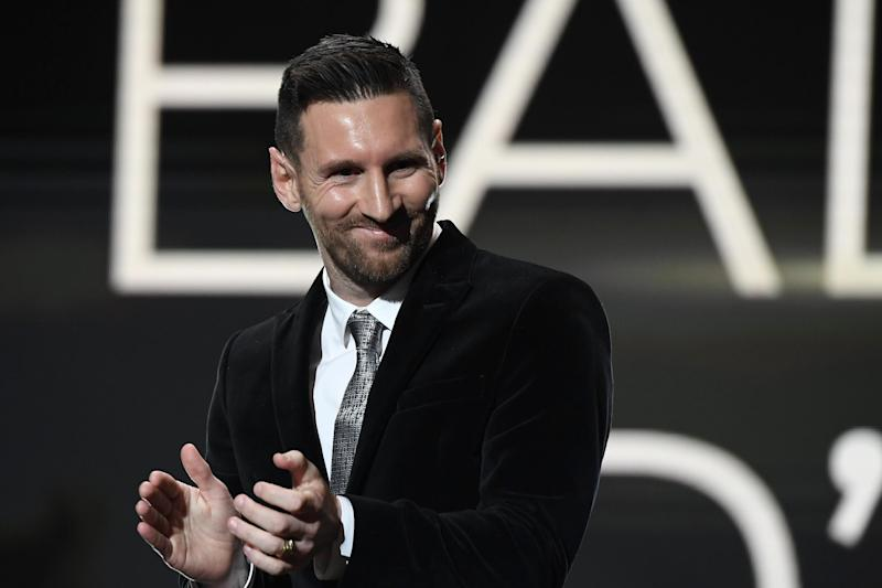 PARIS, FRANCE - DECEMBER 02: Lionel Messi (ARG / FC Barcelona) poses onstage after winning his sixth Ballon D'Or award during the Ballon D'Or Ceremony at Theatre Du Chatelet on December 02, 2019 in Paris, France. (Photo by Kristy Sparow/Getty Images)