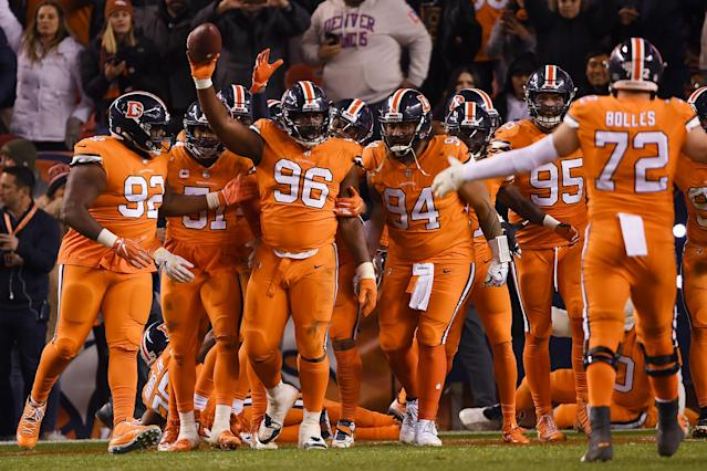 Shelby Harris' late end zone interception sunk the Steelers and kept the Broncos' playoff hopes alive. (Getty)