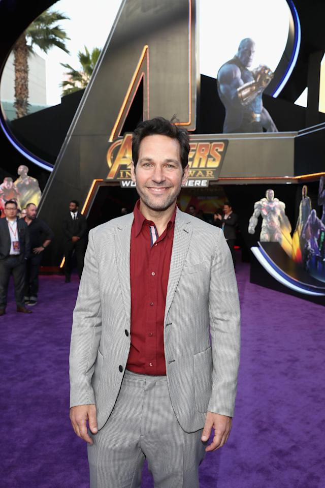 <p>Hello, Ant-Man! Rudd, who is MIA from the film, posed in front of the giant <em>A. </em>(Photo: Getty Images) </p>