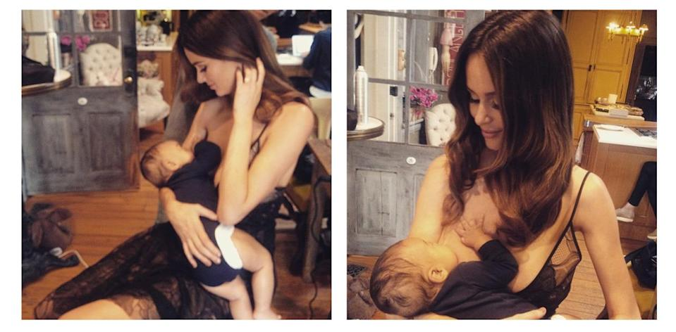 """<p>Aussie model Nicole Trunfio continues her campaign to normalise breastfeeding with these two photos of her nursing her son Zion. """"This should be normal!"""" the mum of one wrote on one of the photos. The snapshots receieved a whole host of supportive comments, with fans commending her positive campaigning. <i>[Instagram/Nicole Trunfio]</i> </p>"""
