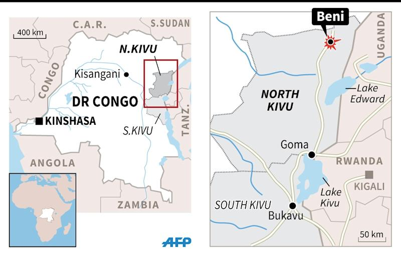 Map of eastern DR Congo locating the city of Beni