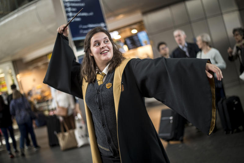 A Harry Potter fans at King's Cross Station, London. Today is the day that Albus Severus Potter boarded the Hogwarts Express in the epilogue of Harry Potter And The Deathly Hallows. (Photo by Lauren Hurley/PA Images via Getty Images)