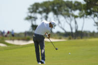 Justin Thomas takes his second shot on the second hole during the first round of the PGA Championship golf tournament on the Ocean Course Thursday, May 20, 2021, in Kiawah Island, S.C. (AP Photo/David J. Phillip)