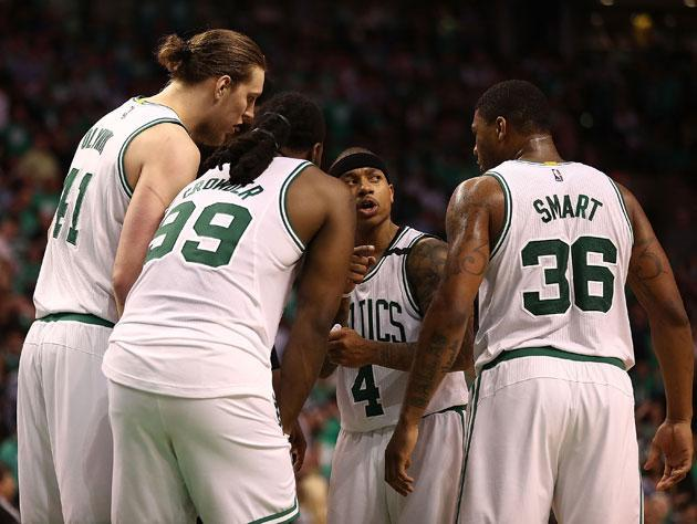 Isaiah Thomas leads the huddle in Game 7. (Getty Images)
