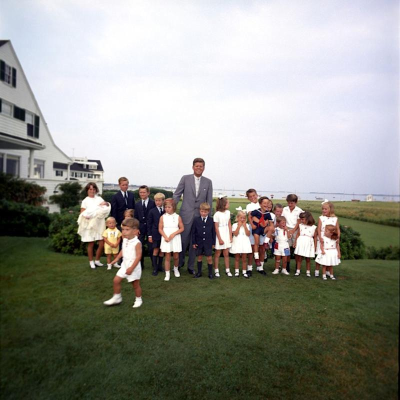 President John F. Kennedy with his children Caroline and John Jr., and children of brother Robert F. Kennedy and sister Eunice Kennedy Shriver at the Kennedy Family Compound in Hyannis Port, Massachusetts | Cecil Stoughton, White House/John F. Kennedy Presidential Library and Museum, Boston