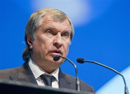 Rosneft President and Chairman of the Managing Board Sechin speaks during the IHS CERAWeek energy conference in Houston