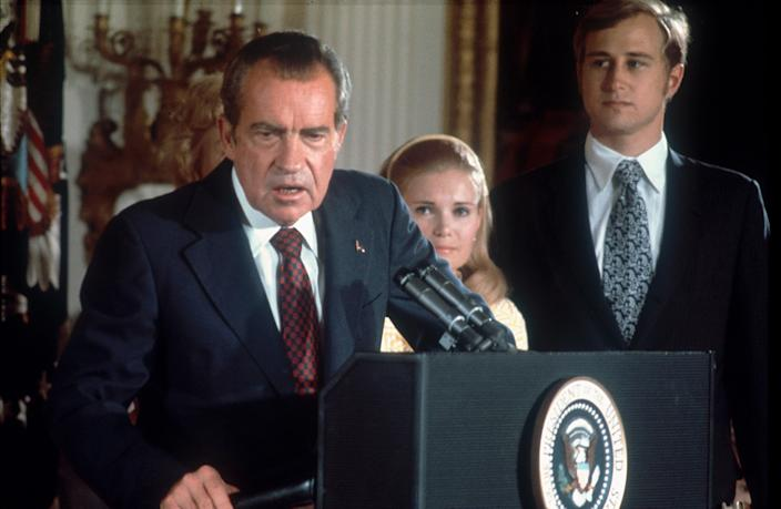 President Richard Nixon announces his resignation in 1974. (Photo: Dirck Halstead/Getty Images)