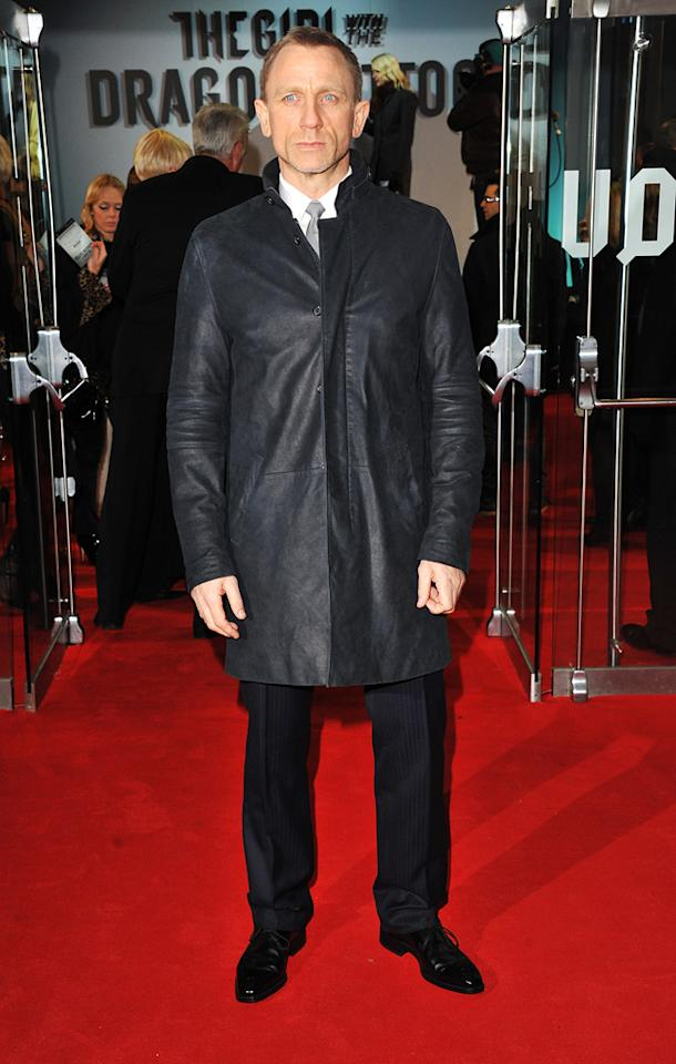 "<a href=""http://movies.yahoo.com/movie/contributor/1800023173"">Daniel Craig</a> at the London premiere of <a href=""http://movies.yahoo.com/movie/1810163569/info"">The Girl With the Dragon Tattoo</a> on December 12, 2011."