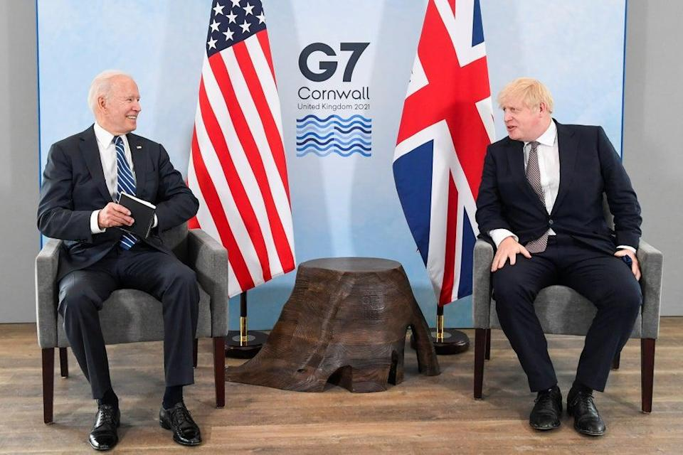 US President Joe Biden with Prime Minister Boris Johnson during their meeting at the G7 summit in Cornwall (Toby Melville/PA) (PA Wire)