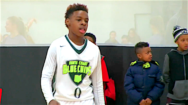 watch lebron james jr throw crazy dishes and drain deep 3