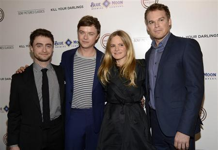 """Cast members Daniel Radcliffe (L-R), Dane DeHaan, Jennifer Jason Leigh and Michael C. Hall attend the film premiere of """"Kill Your Darlings"""" in Beverly Hills, California October 3, 2013. REUTERS/Phil McCarten"""