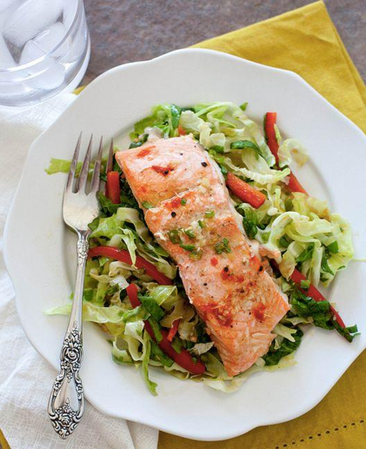 """<strong>Get the <a href=""""http://www.annies-eats.com/2013/07/31/ginger-garlic-salmon-with-cabbage-salad/"""" target=""""_blank"""">Ginger Garlic Salmon with Cabbage Salad recipe</a> from Annie's Eats</strong>"""