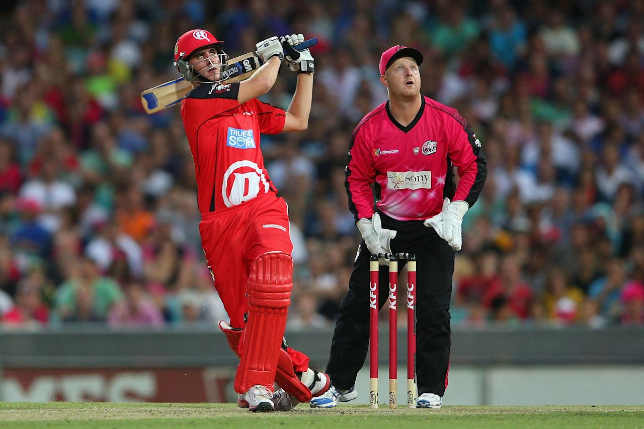 SYDNEY, AUSTRALIA - JANUARY 09:  Alex Hales of the Renegades hits six runs during the Big Bash League match between the Sydney Sixers and the Melbourne Renegades at SCG on January 9, 2013 in Sydney, Australia.  (Photo by Cameron Spencer/Getty Images)