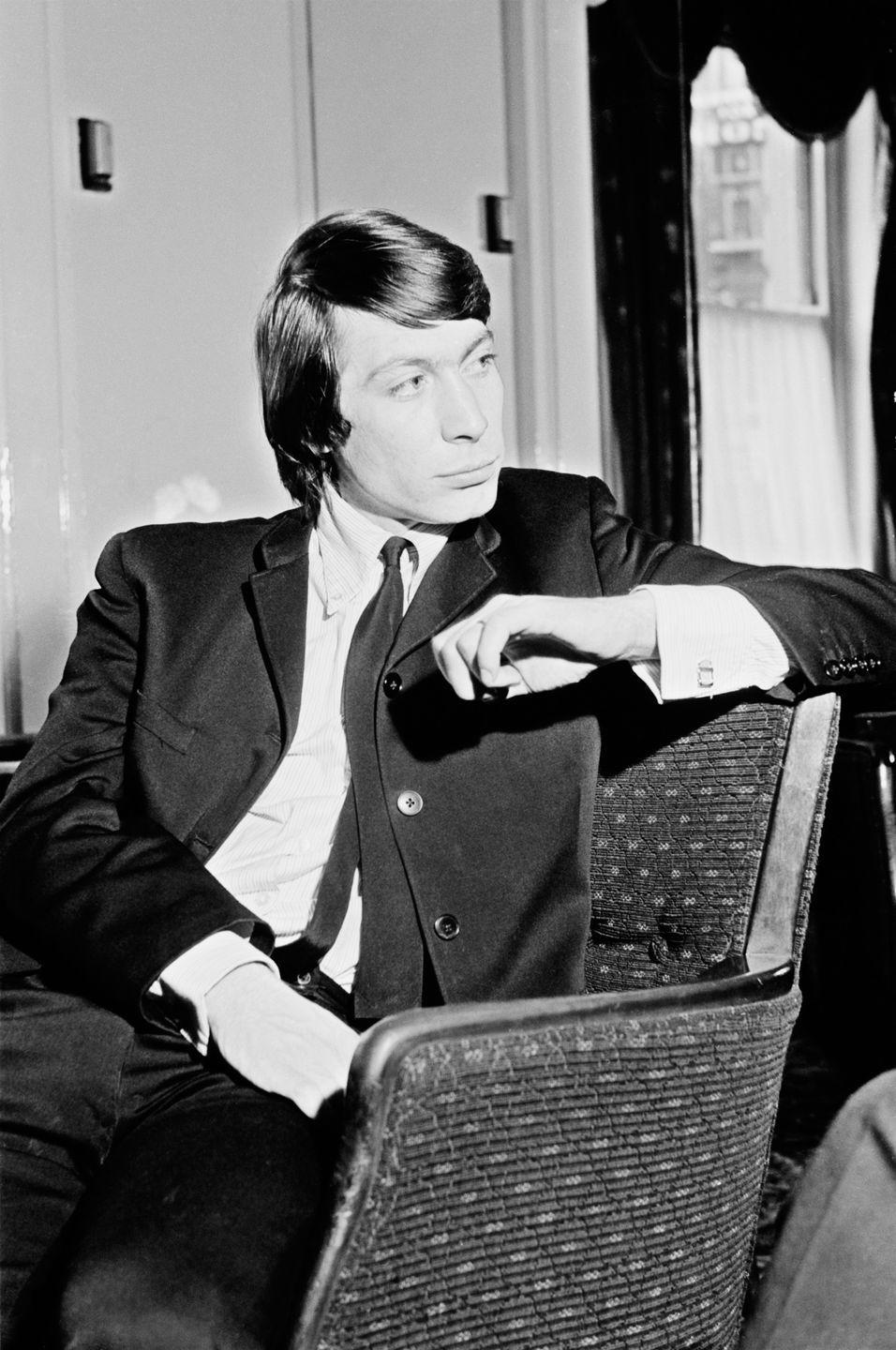 <p>Charlie Watts from The Rolling Stones posed at the Midland Hotel in Manchester, England on 7th March 1965.</p>