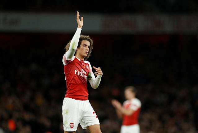 """Soccer Football - Premier League - Arsenal v Wolverhampton Wanderers - Emirates Stadium, London, Britain - November 11, 2018 Arsenal's Matteo Guendouzi waves to fans after the match Action Images via Reuters/John Sibley EDITORIAL USE ONLY. No use with unauthorized audio, video, data, fixture lists, club/league logos or """"live"""" services. Online in-match use limited to 75 images, no video emulation. No use in betting, games or single club/league/player publications. Please contact your account representative for further details."""