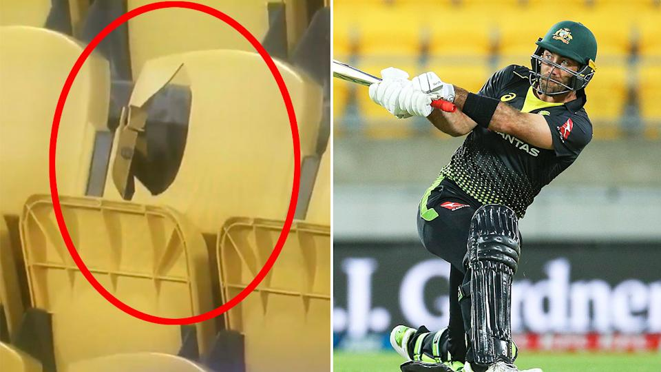 Pictured here, Glenn Maxwell smashing a boundary and a photo of a seat he destroyed in the stands.