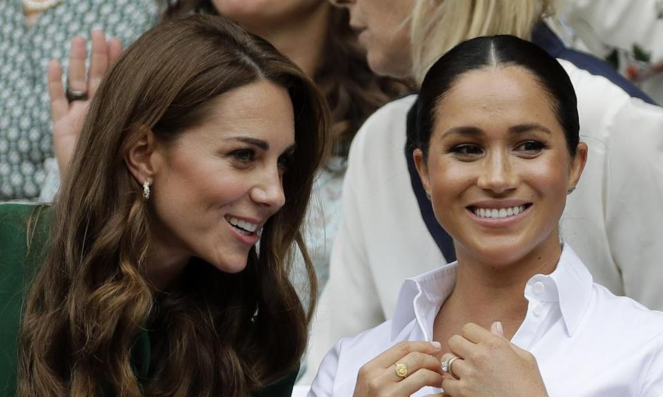 Kate and Meghan at Wimbledon in 2019.