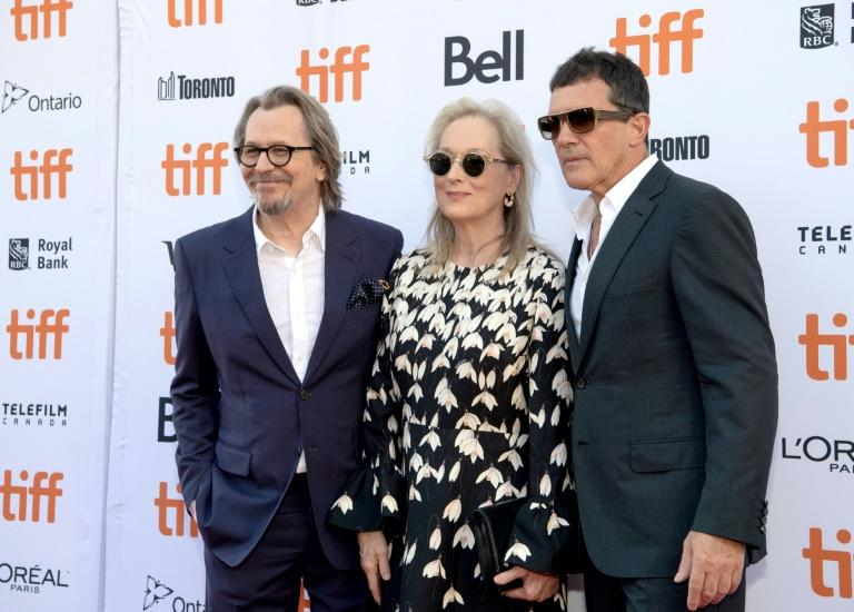 Meryl Streep was joined on the red carpet by Antonio Banderas and Gary Oldman, who star in Netflix's 'The Laundromet' (AFP Photo/Emma McIntyre)